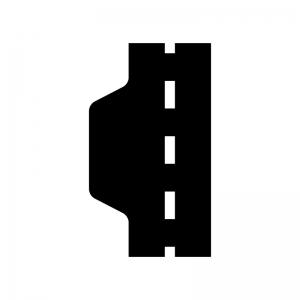 道路の待避所の白黒シルエットイラスト