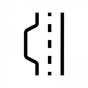 道路の待避所の白黒シルエットイラスト02