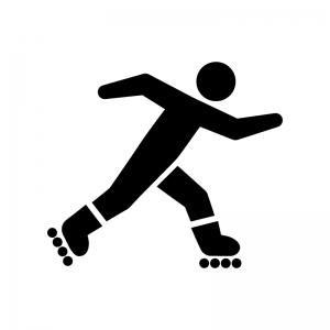 ローラースケートで滑る人の白黒シルエットイラスト