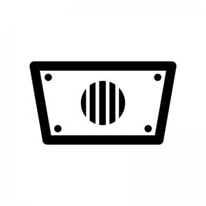 校内放送スピーカーの白黒シルエットイラスト