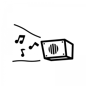 校内放送・チャイムの白黒シルエットイラスト