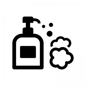 ハンドソープ・泡石鹸の白黒シルエットイラスト