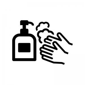石鹸で手洗いの白黒シルエットイラスト02