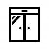 自動ドアの白黒シルエットイラスト02