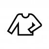 丸首の長袖シャツの白黒シルエットイラスト