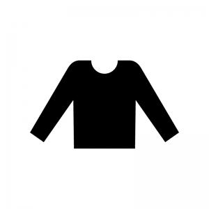丸首の長袖シャツの白黒シルエットイラスト02