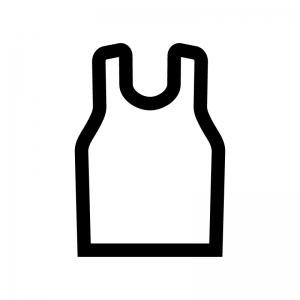 タンクトップの白黒シルエットイラスト02