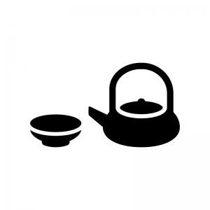 お屠蘇(おとそ)の白黒シルエットイラスト