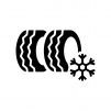 スタッドレスタイヤの白黒シルエットイラスト