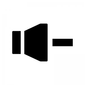 音量ダウンの白黒シルエットイラスト
