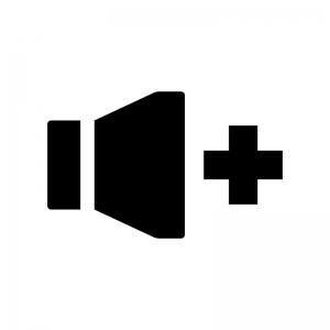音量アップの白黒シルエットイラスト