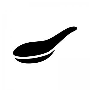 レンゲ・スプーンの白黒シルエットイラスト