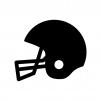 アメフトのヘルメットの白黒シルエットイラスト02