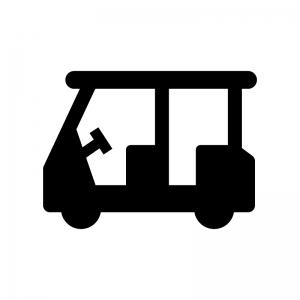 ゴルフカートの白黒シルエットイラスト