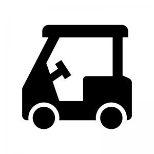 ゴルフカートの白黒シルエットイラスト02