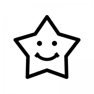 スマイルの星の白黒シルエットイラスト04