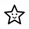 スマイルの星の白黒シルエットイラスト