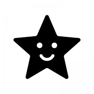 スマイルの星の白黒シルエットイラスト02
