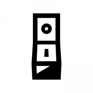 電源・スイッチの白黒シルエットイラスト02