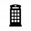 電話ボックスの白黒シルエットイラスト