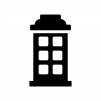 電話ボックスの白黒シルエットイラスト02