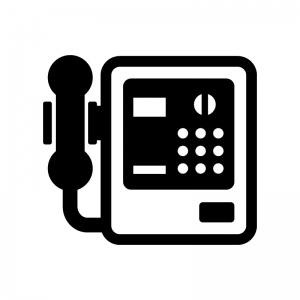公衆電話の白黒シルエットイラスト