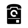 ダイヤル式の公衆電話の白黒シルエットイラスト