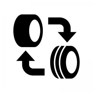 タイヤのローテーションの白黒シルエットイラスト