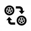 タイヤのローテーションの白黒シルエットイラスト02