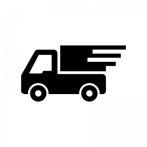 宅配トラックの白黒シルエットイラスト
