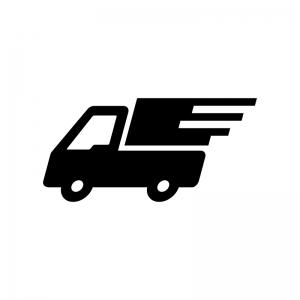 宅配トラックの白黒シルエットイラスト02