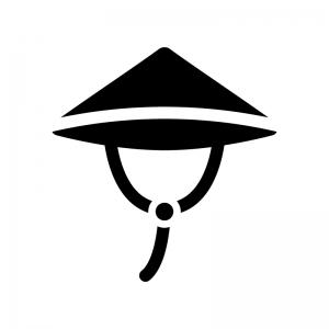 三度笠の白黒シルエットイラスト02