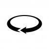 回転矢印の白黒シルエットイラスト05