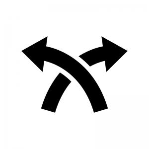 交差している矢印の白黒シルエットイラスト03