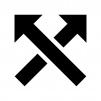 交差している矢印の白黒シルエットイラスト04
