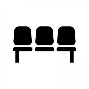 座席・ベンチの白黒シルエットイラスト