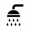 シャワーの白黒シルエットイラスト03