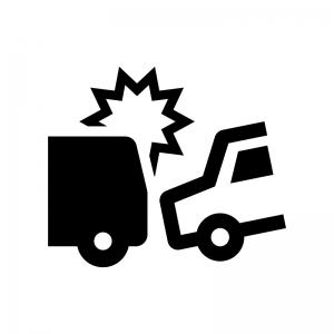 自動車の交通事故の白黒シルエットイラスト02