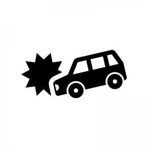 自動車の交通事故の白黒シルエットイラスト03