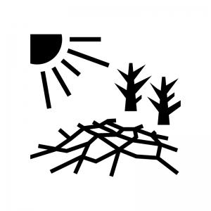 大地の日照りの白黒シルエットイラスト02