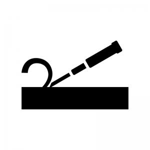 工具・ノミの白黒シルエットイラスト03