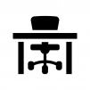 椅子と机の白黒シルエットイラスト