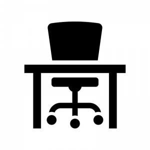 椅子と机の白黒シルエットイラスト02