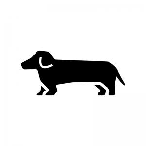 犬・ダックスフントの白黒シルエットイラスト