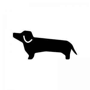 犬・ダックスフントの白黒シルエットイラスト02