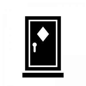 ドア・扉の白黒シルエットイラスト05