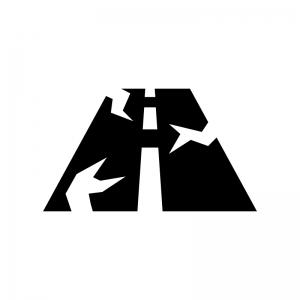 道路の地割れの白黒シルエットイラスト