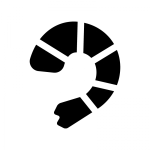 むきエビの白黒シルエットイラスト