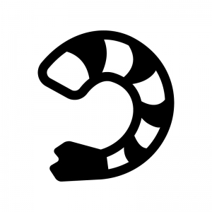 むきエビの白黒シルエットイラスト02