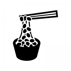 納豆の白黒シルエットイラスト